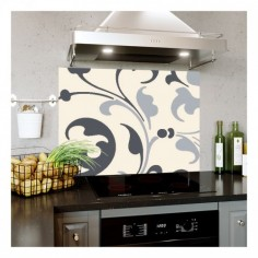 Panou bucatarie, protectie plita, aragaz, antistropire, print UV model Abstract Floral Mov 125x50 cm Decoglass