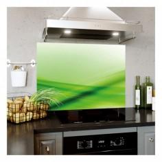 Panou bucatarie, protectie plita, aragaz, antistropire, print UV model Abstract Verde  60x50 cm Decoglass