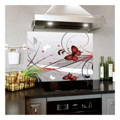Panou bucatarie, protectie plita, aragaz, antistropire, print UV model Fluturasi Rosii 60x60 cm Decoglass