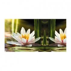 Panou bucatarie, protectie plita, aragaz, antistropire, print UV model Floare Lotus 60x60 cm Decoglass