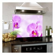 Panou bucatarie, protectie plita, aragaz, antistropire, print UV model Orhidee Violet 12 125x50 cm Decoglass
