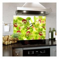 Panou bucatarie, protectie plita, aragaz, antistropire, print UV model Orhidee cu Petale Verzi 125x50 cm Decoglass