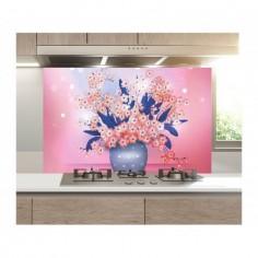 Panou bucatarie, protectie plita, aragaz, antistropire, print UV model Vaze cu Flori 125x50 cm Decoglass