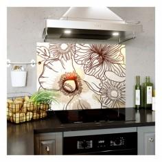 Panou bucatarie, protectie plita, aragaz, antistropire, print UV model Desen Floare 60x50 cm Decoglass