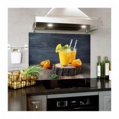 Panou decorativ bucatarie, protectie plita, antistropire, Orange Cocktail 60x50 cm Decoglass