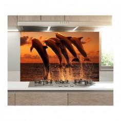 Panou bucatarie, protectie plita, aragaz, antistropire, print UV model 5 Delfini 60x50 cm Decoglass