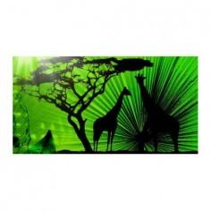 Panou bucatarie, protectie plita, aragaz, antistropire, print UV model Siluete Girafe 125x50 cm Decoglass