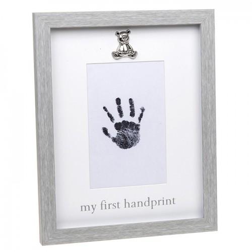 Rama foto gri cu amprenta cerneala - My first Handprint - egato.ro
