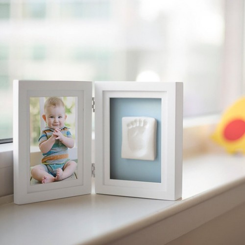 Pearhead - Kit rama foto dubla cu amprenta mulaj manuta sau piciorus - alba - egato.ro