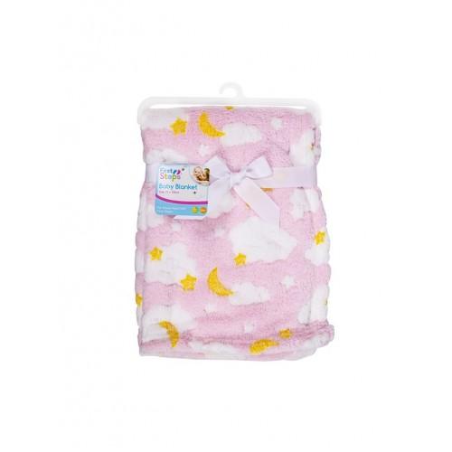Paturica bebe roz cu norisori First Steps - egato.ro