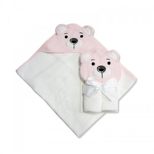 Prosop de baie cu gluga model ursulet roz Baby Snuggle Baby