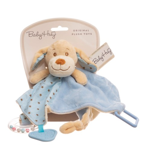 Baby Hug - Catelus bleu cu zornaitoare, paturica, inel si jucarie dentitie - egato.ro