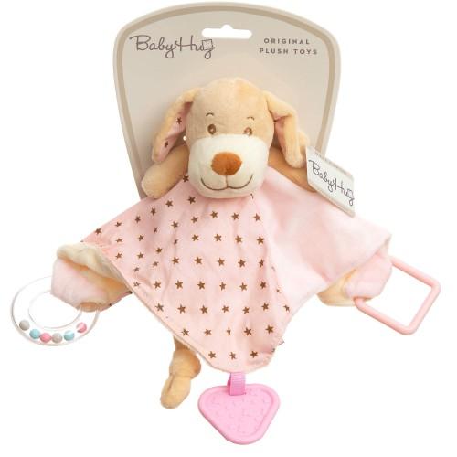 Baby Hug - Catelus roz cu zornaitoare, paturica, inel si jucarie dentitie - egato.ro