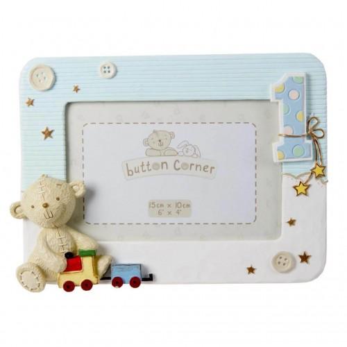 Button Corner - Rama foto bleu My First Birthday - egato.ro