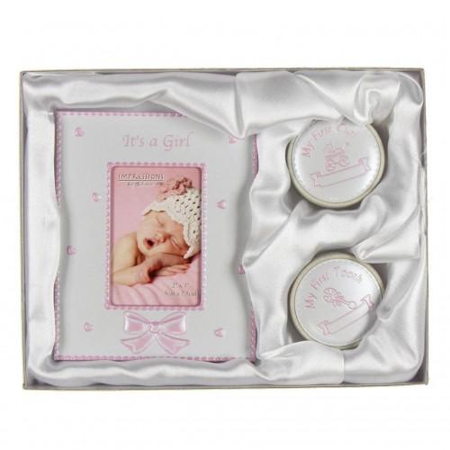 Juliana - Set cadou rama foto, cutiuta prima suvita si cutiuta primul dintisor Pink - egato.ro