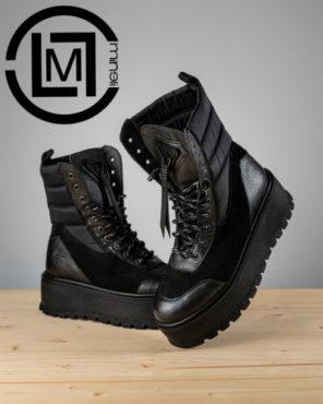 Ghete Mineli Black Leather Tempora - 37 - egato.ro