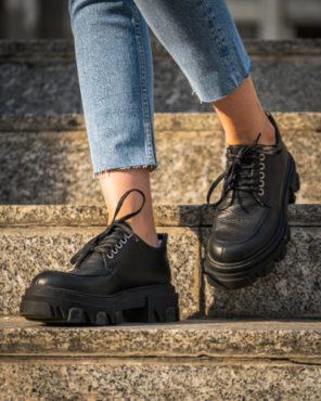 Pantofi Casual VFTS Black Leather - 38 - egato.ro