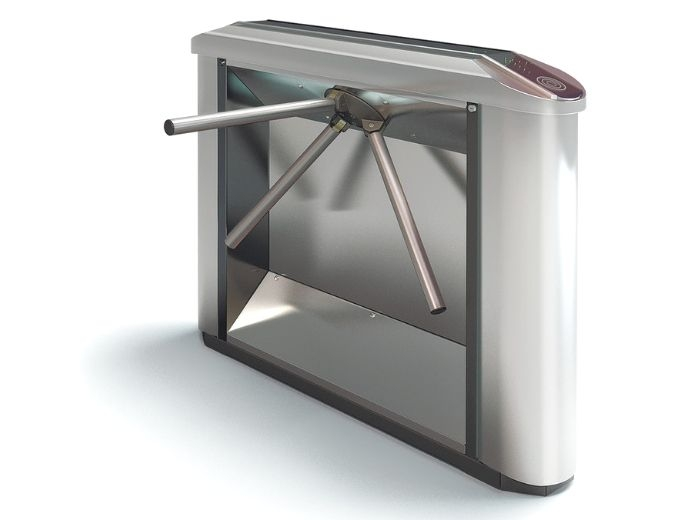 Turnichet electromecanic bidirectional, motorizat, din inox, pe doua picioare si masca, pentru interior CALISTO