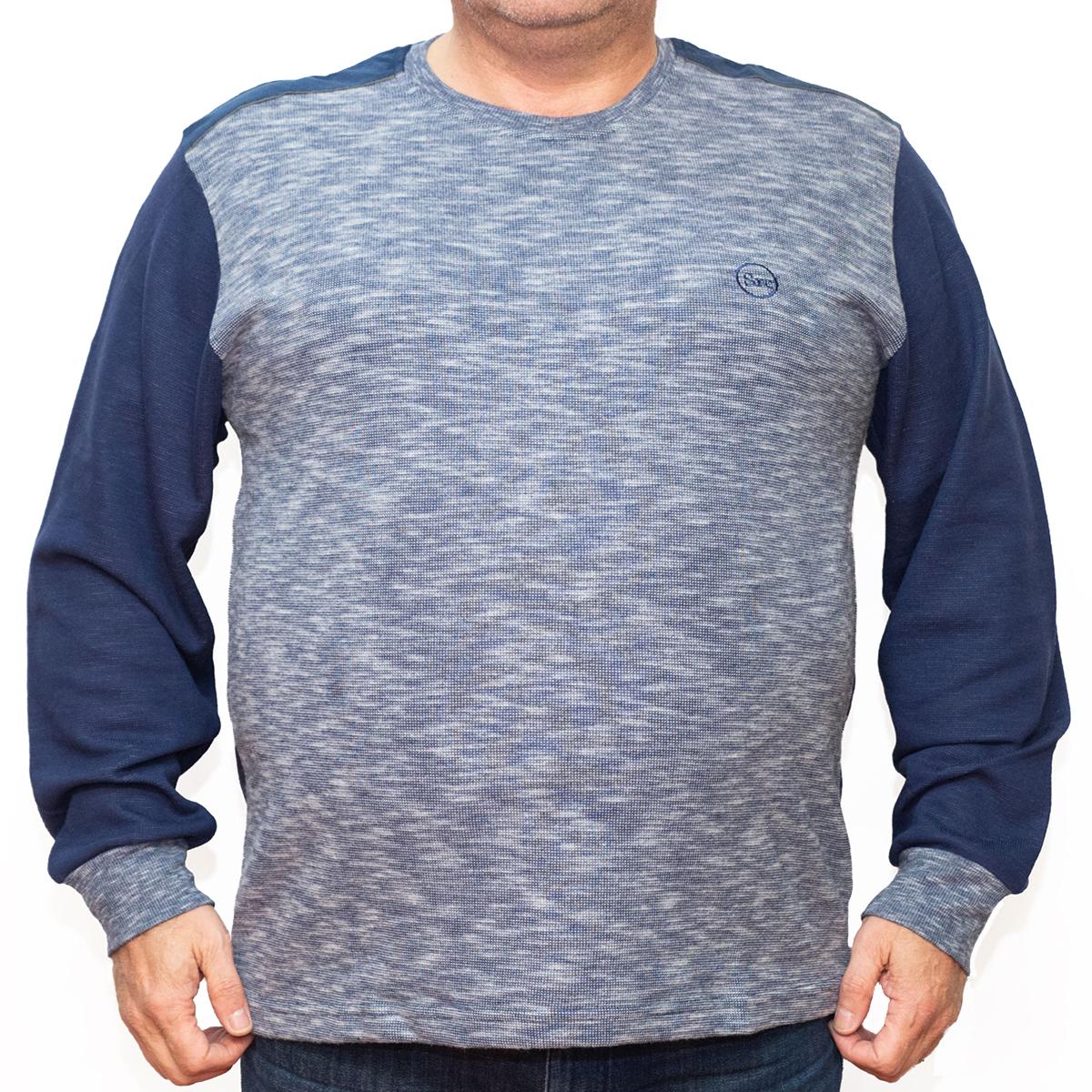 Bluza groasa albastra cu imprimeu la baza gatului , Marime 2XL - egato.ro