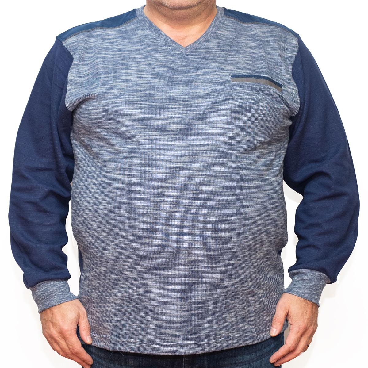 Bluza groasa albastra cu imprimeu si  anchior , Marime 3XL - egato.ro