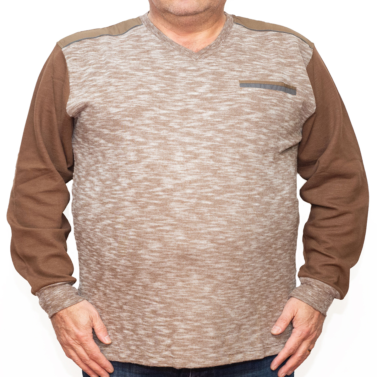 Bluza groasa maro cu imprimeu si cu anchior, Marime 6XL - egato.ro