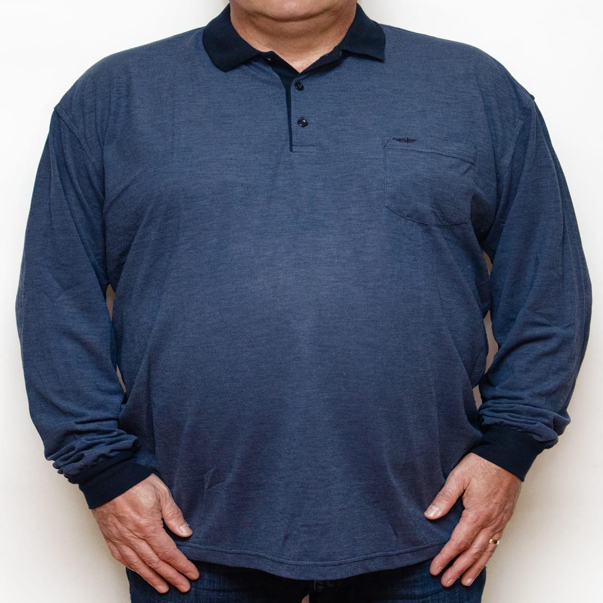 Bluza subtire bleumarin cu insertii albastre si cu guler , Marime 6XL - egato.ro
