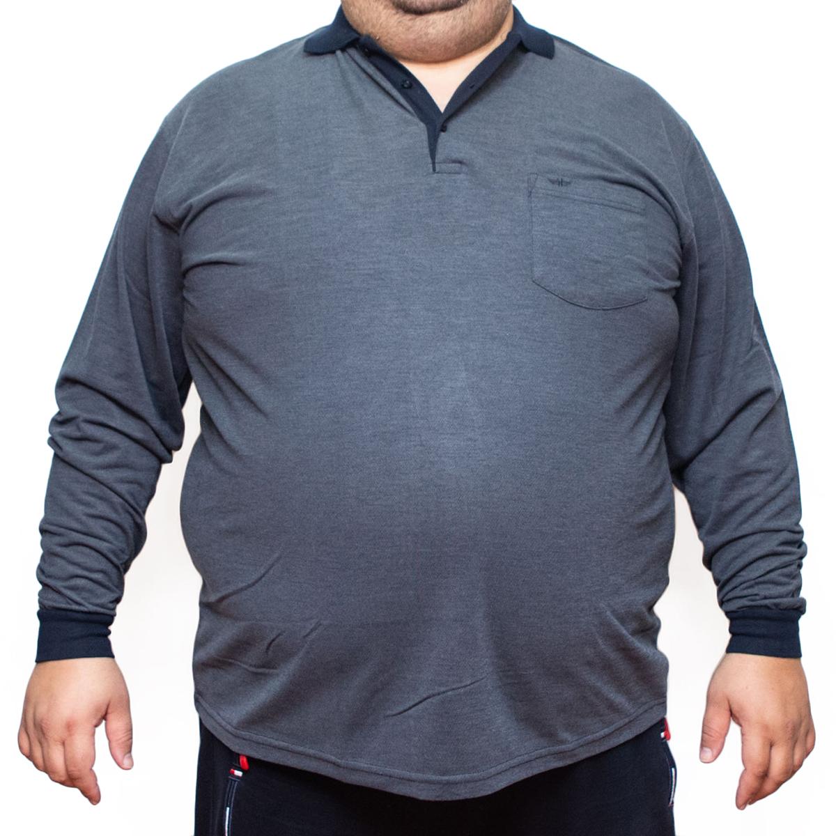 Bluza subtire gri cu imprimeu si cu guler, Marime 3XL - egato.ro