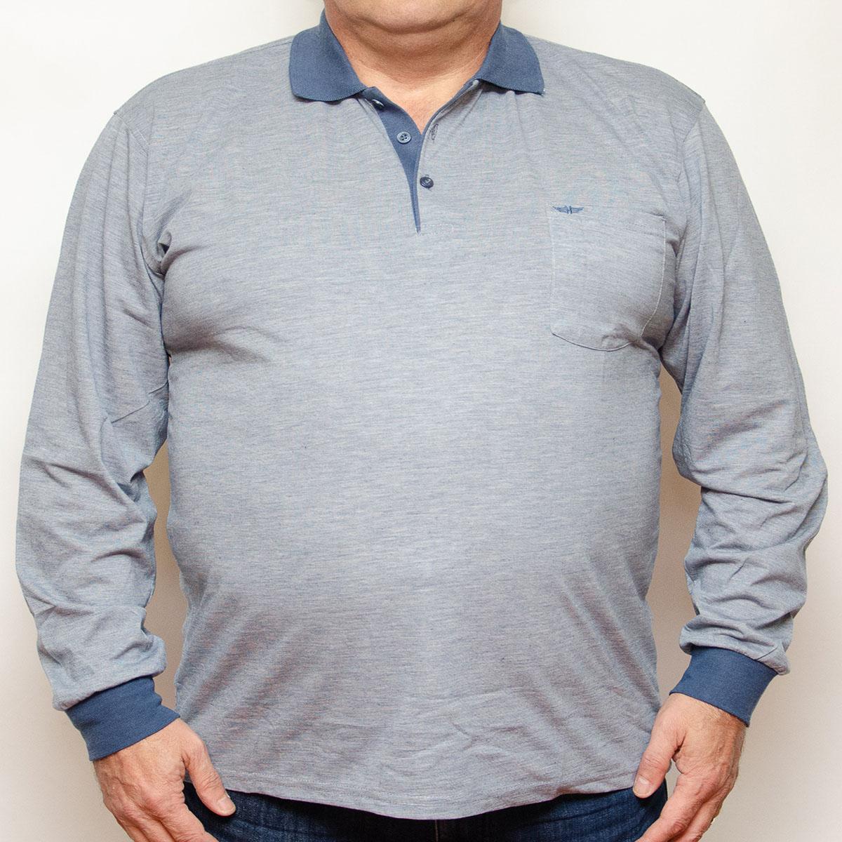 Bluza subtire gri cu insertii blumarin si cu guler , Marime 4XL - egato.ro