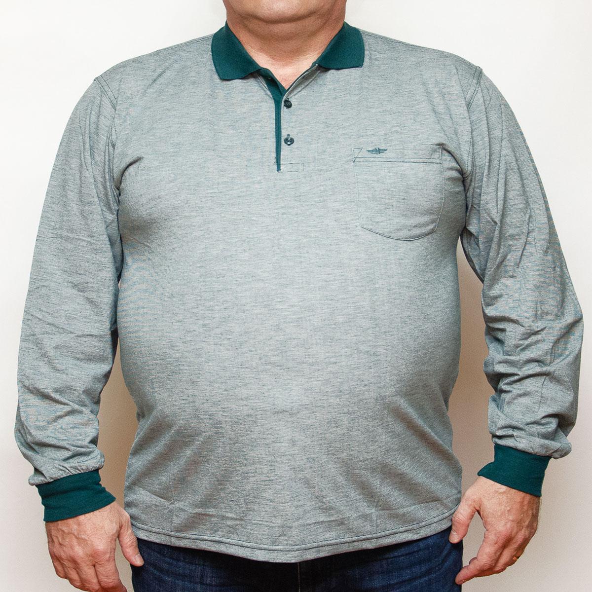 Bluza subtire gri cu insertii verzi si cu guler , Marime 4XL - egato.ro