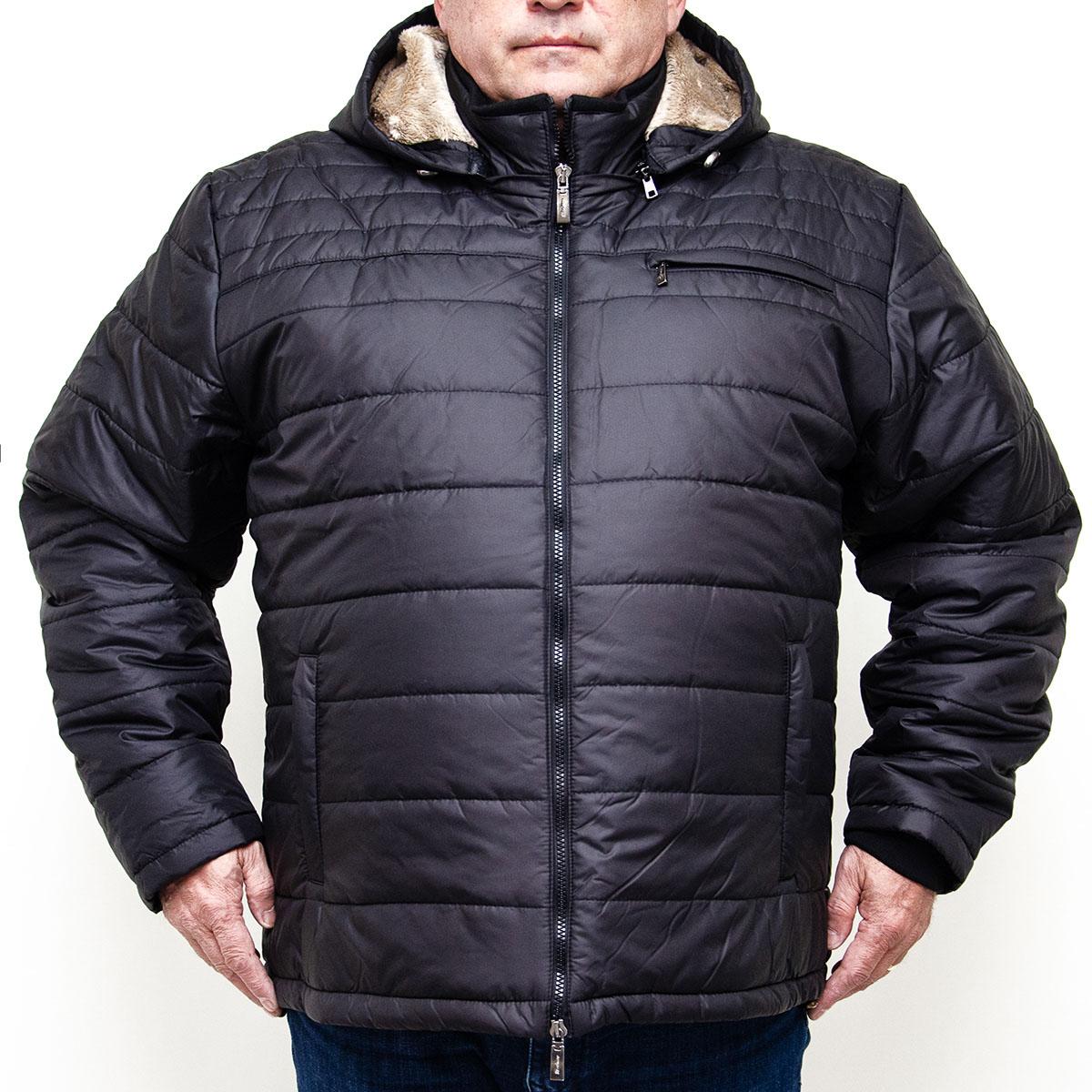 Geaca de iarna neagra cu gluga din fas, Marime 6XL - egato.ro