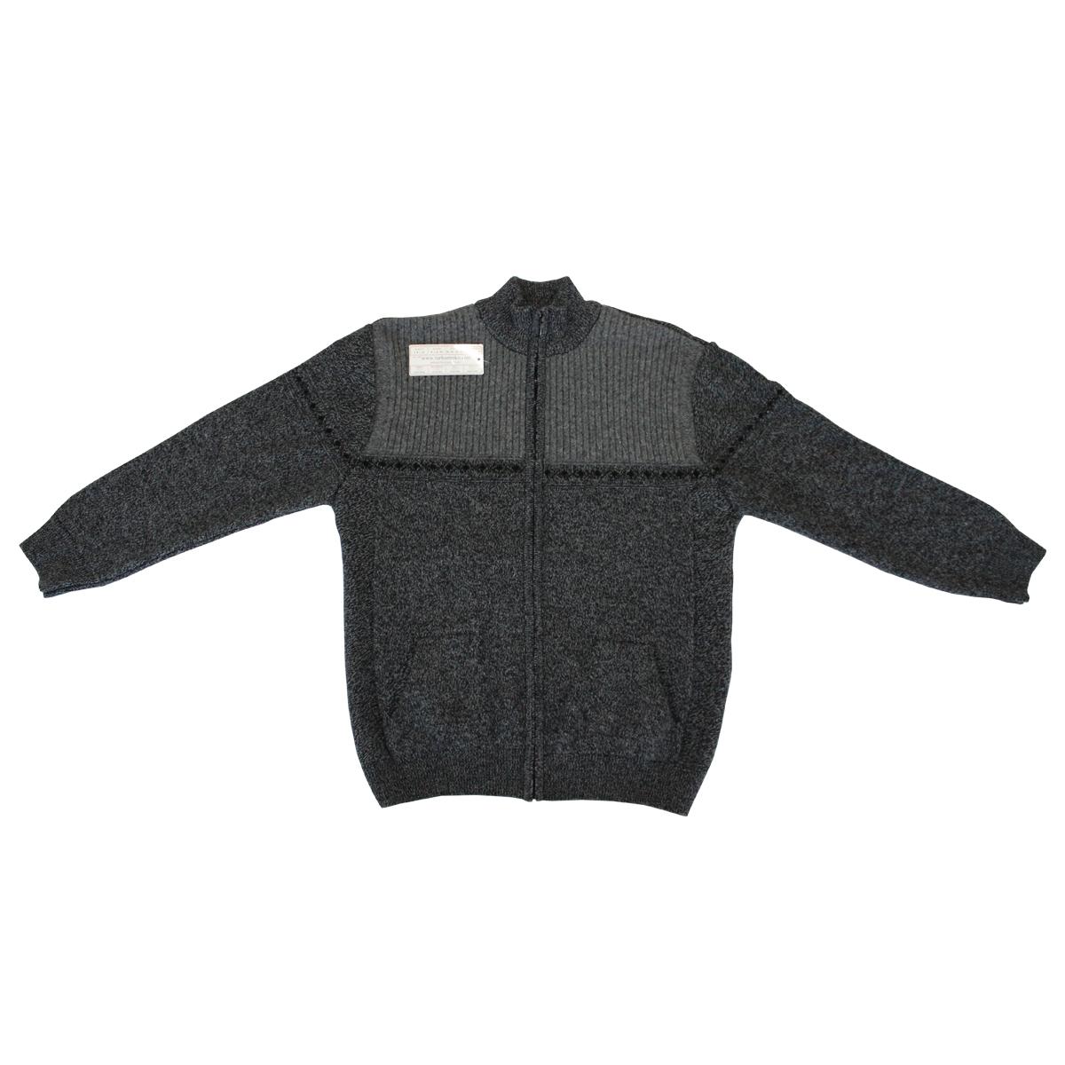 Pulover gri cu imprimeu si cu fermoar de iarna , Marime 4XL - egato.ro
