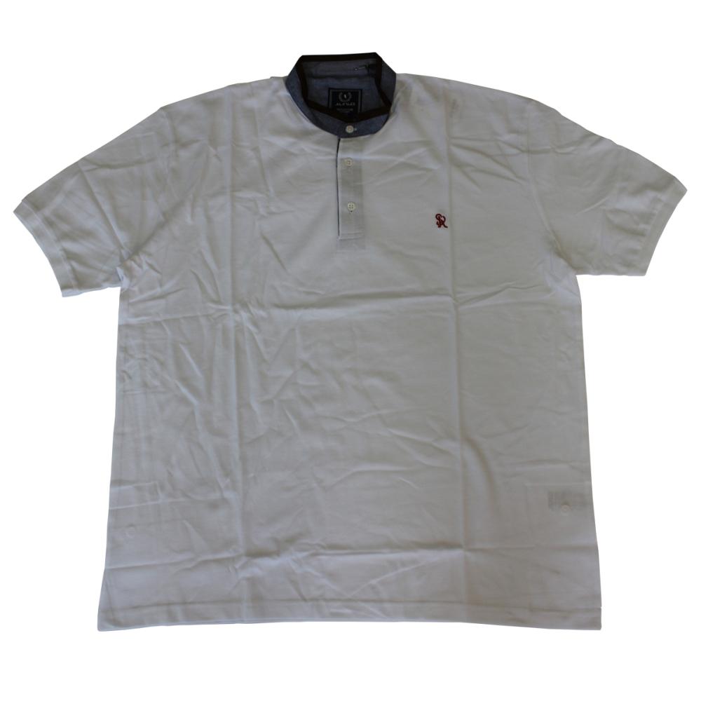 Tricou alb cu guler tunica , Marime 3XL - egato.ro