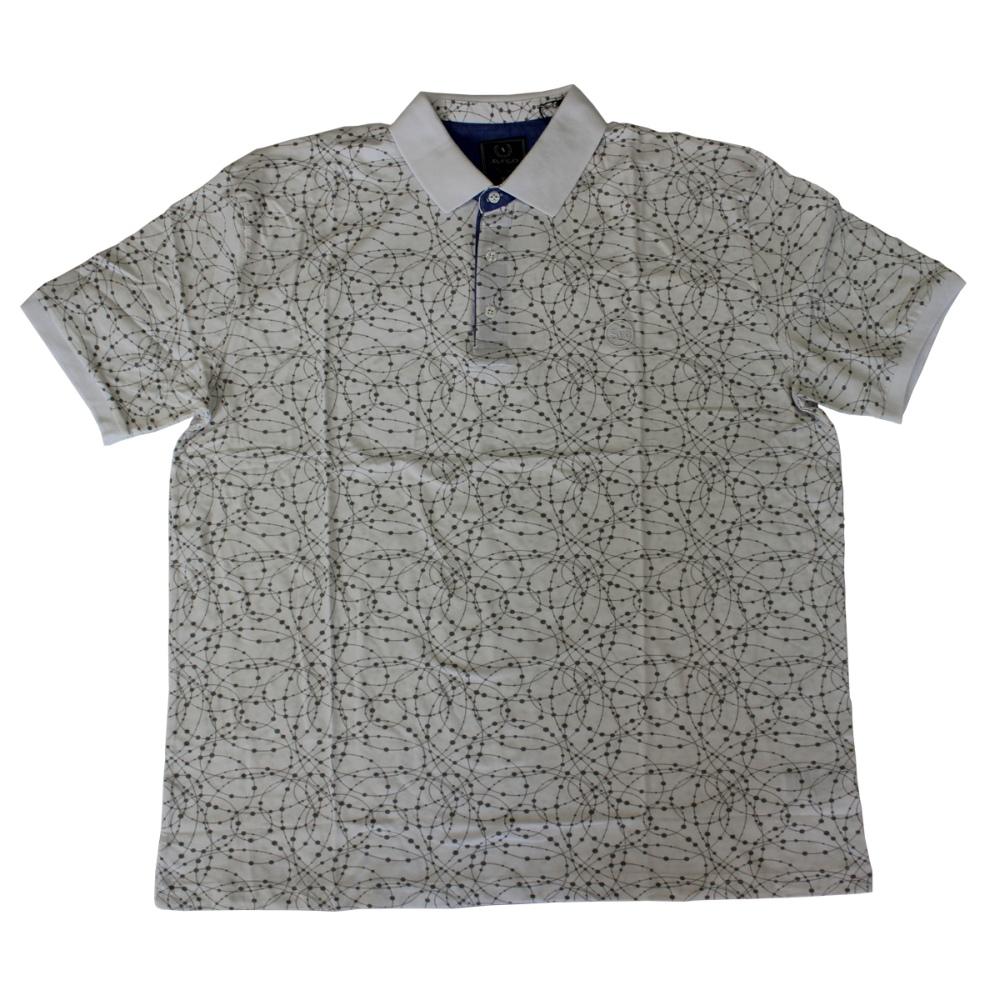 Tricou alb cu imprimeu si cu guler , Marime 5XL - egato.ro