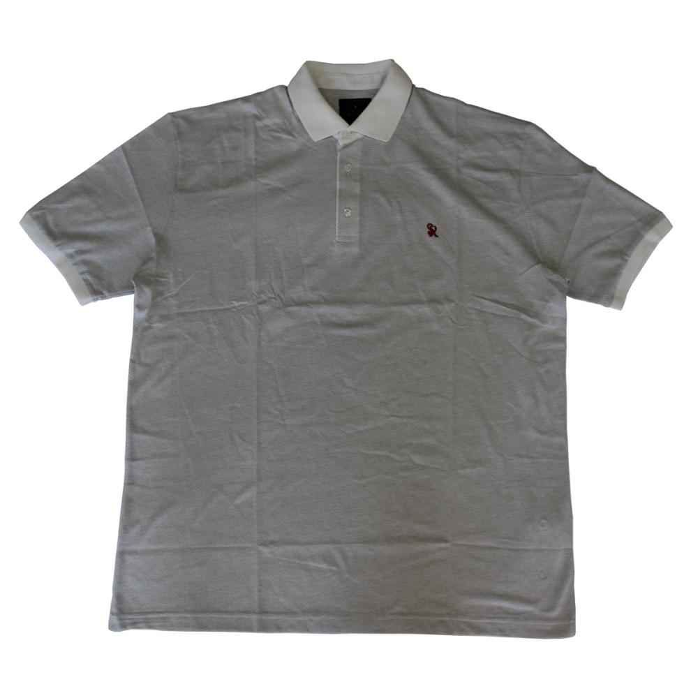 Tricou alb cu imprimeu si cu guler , Marime 6XL - egato.ro