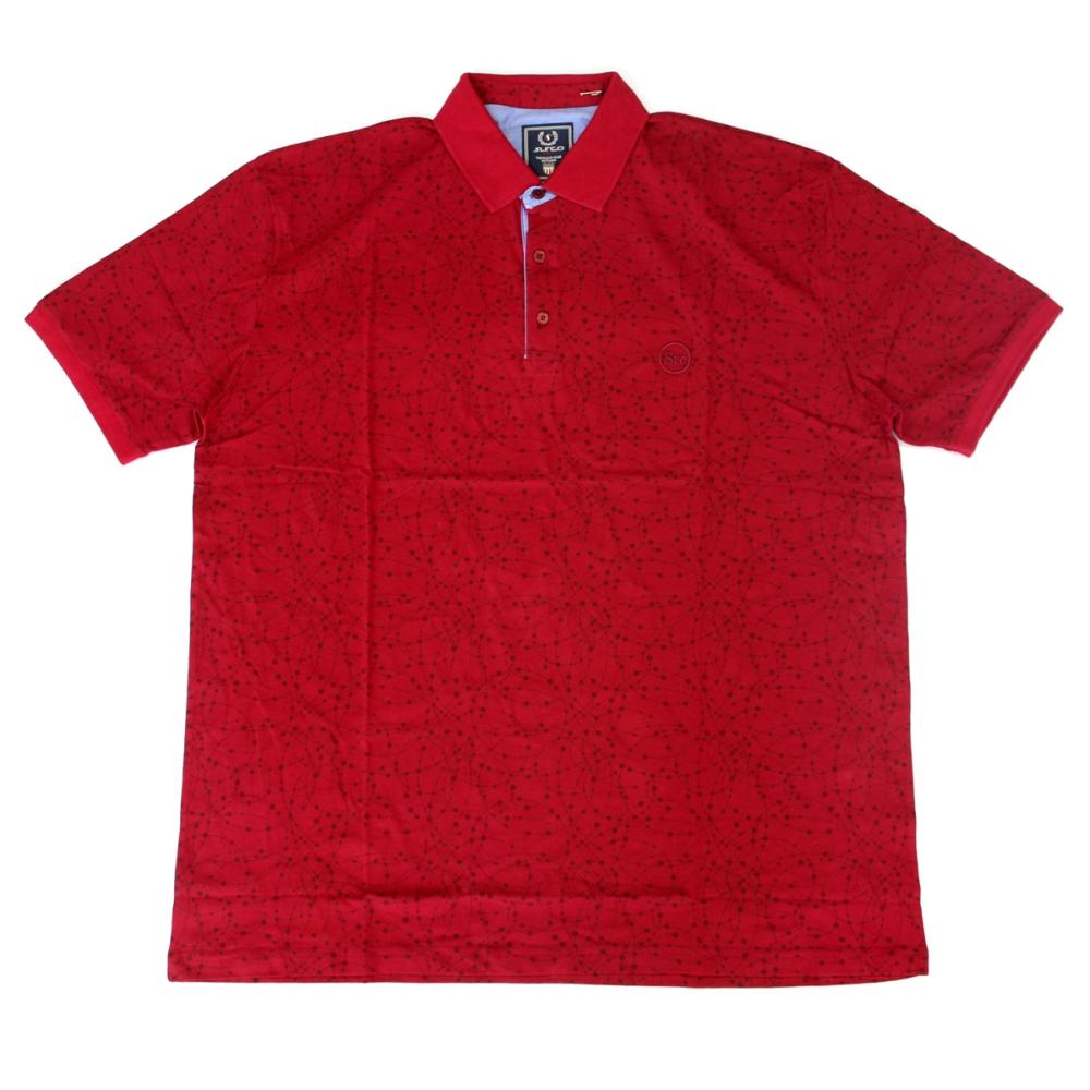 Tricou rosu cu imprimeu si cu guler, Marime 4XL - egato.ro