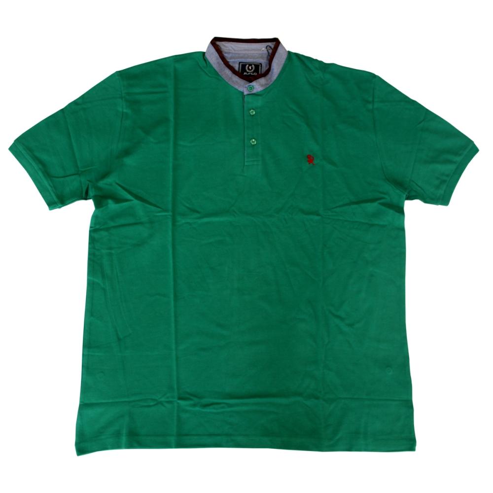 Tricou verde cu guler tunica , Marime 2XL - egato.ro