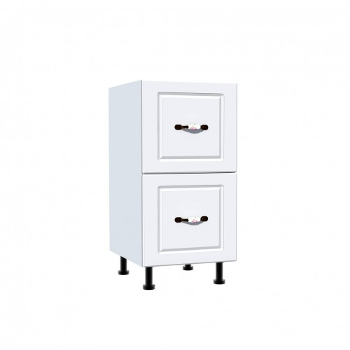 Corp inferior 40 cu 2 sertare metalice pentru greutate Zebra MDF alb drept - egato.ro