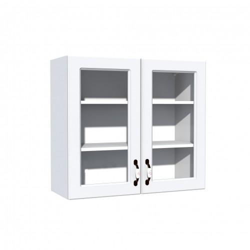 Corp superior vitrina 80 cu 2 usi Zebra MDF alb drept - egato.ro
