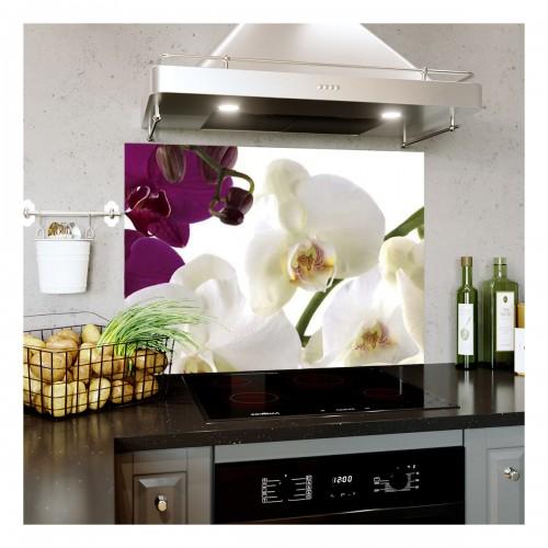Panou bucatarie, protectie plita, aragaz, antistropire, print UV model Flori Roz Desenate 125x50 cm Decoglass